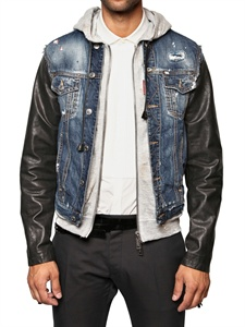 Denim jacket with leather sleeves | simplystudded